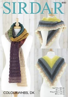 Sirdar Colourwheel DK - 8083 Scarf & Wrap Knitting Pattern